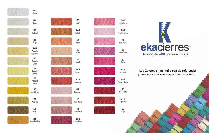 Carta de Color Eka Cierres 1/4
